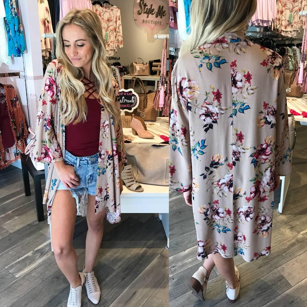Floral Kimono - Rosewood