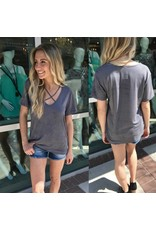 Criss Cross Suede Tee - Charcoal