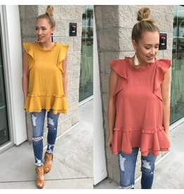 T9615 Ruffle Detail Top