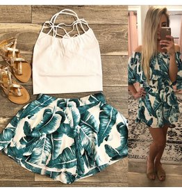 Tropical Print Shorts - Teal