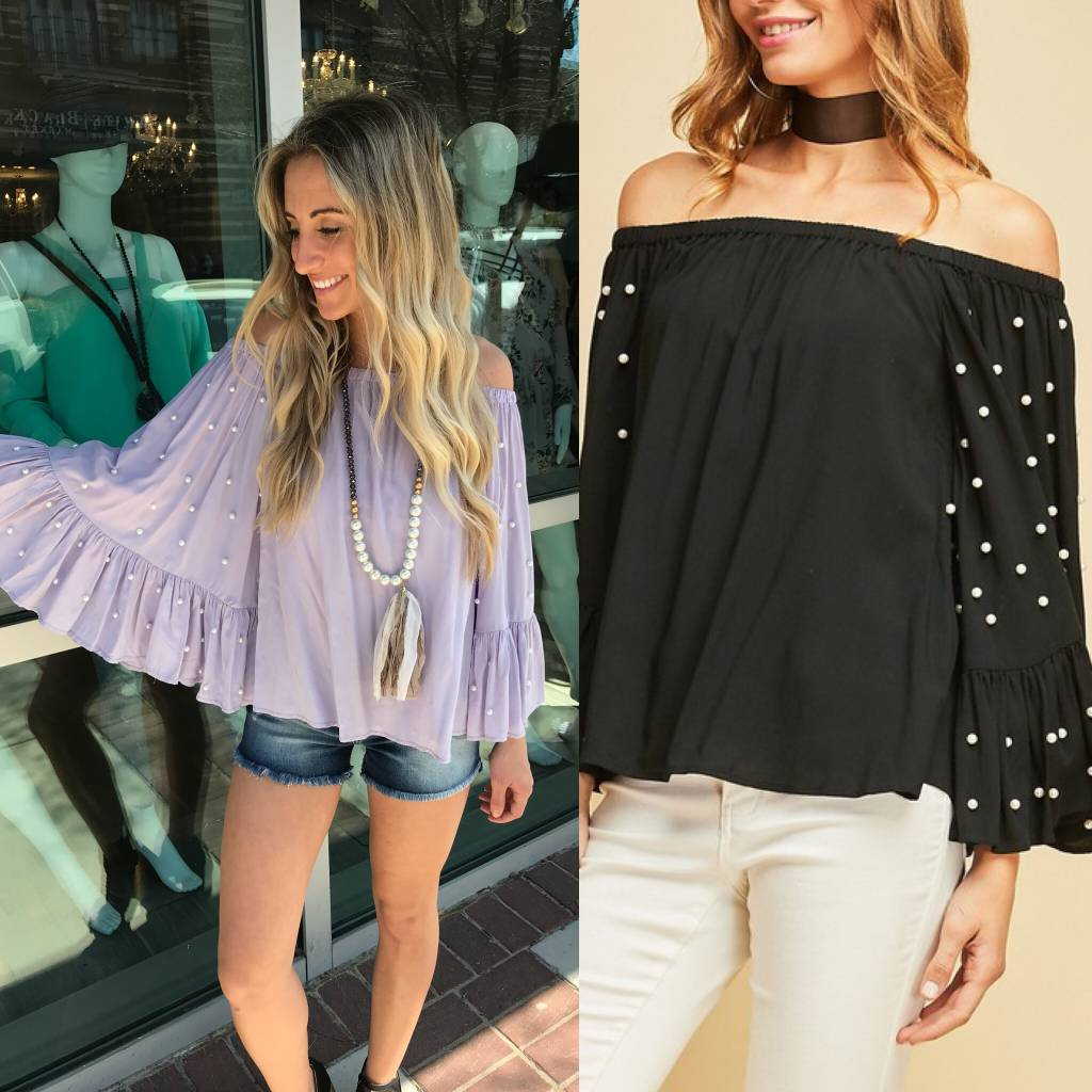 Pearl Detail Off Shoulders Top - Black