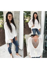 Lace Up Sides Sweater - Ivory