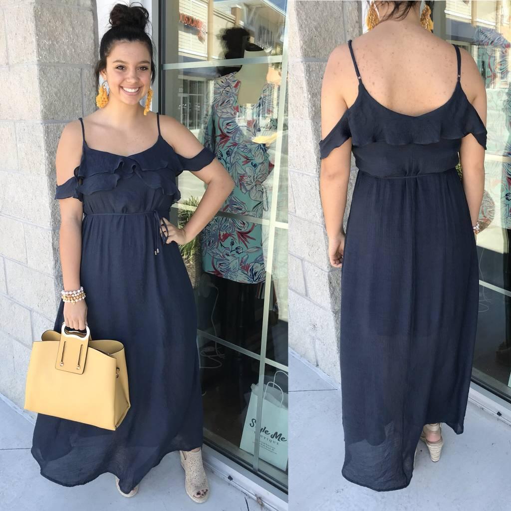 Open Shoulders Maxi Dress - Navy