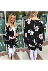 Cold Shoulder Floral Kimono - Black