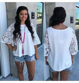 Crochet Sleeves Top - Off White