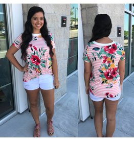 Striped Floral Print Top  Blush