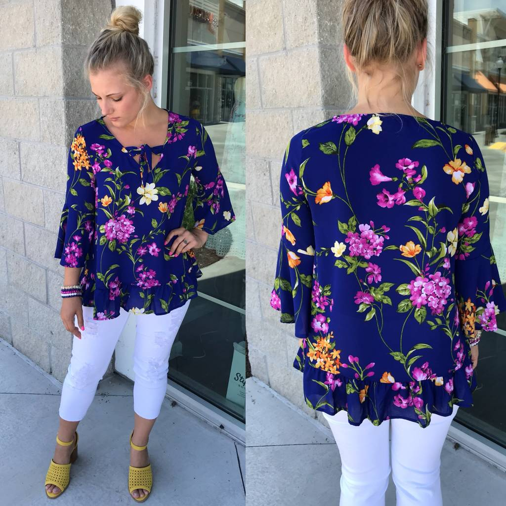 Floral Top - Royal