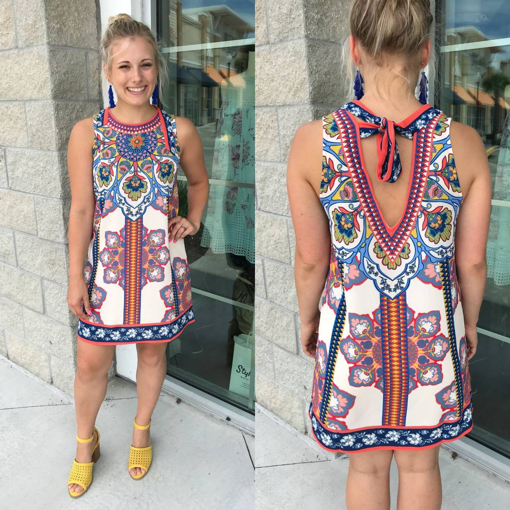 ID17002 Mosaic Print Dress - Off White