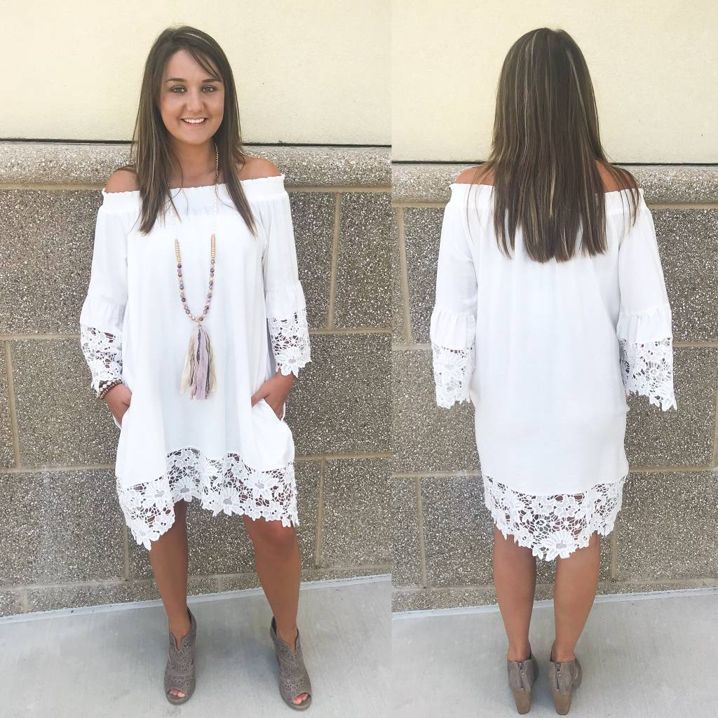 Cotton Bleu Oversized Crochet Detailed Dress