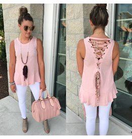 Lace Up Back Top - Baby Pink