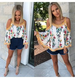 Floral Cold Shoulder Top - Ivory