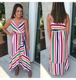Striped Maxi Dress - Orange