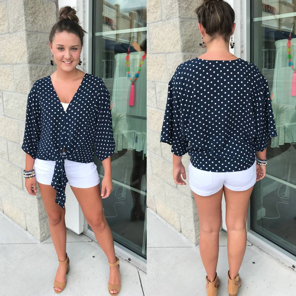 Polka Dot Tie Detail Top - Navy