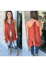 Ruffle Tie Back Tunic Rust