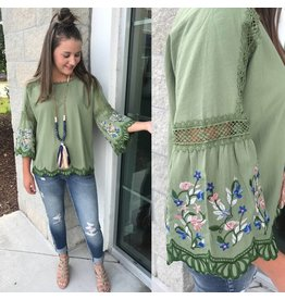 Embroidered Bell Sleeve Top- Sage