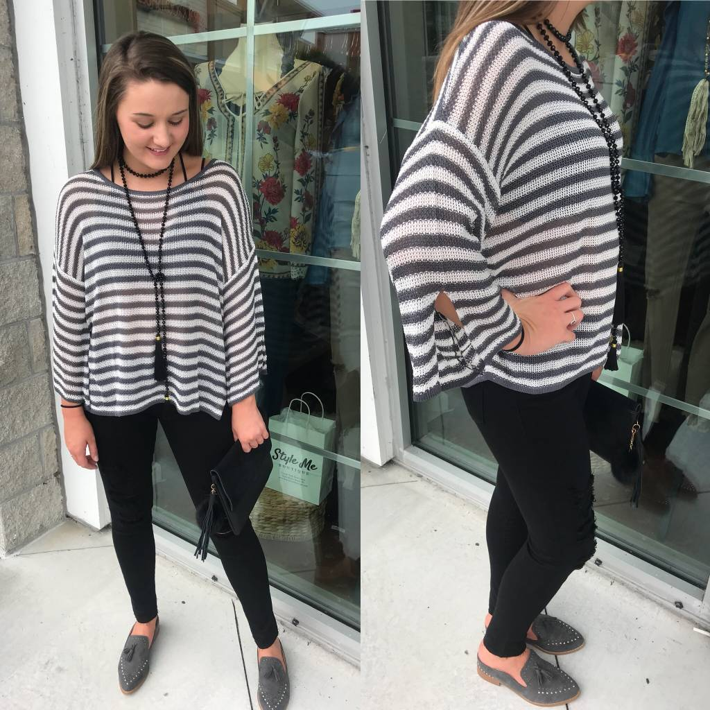 Striped Sweater - Charcoal