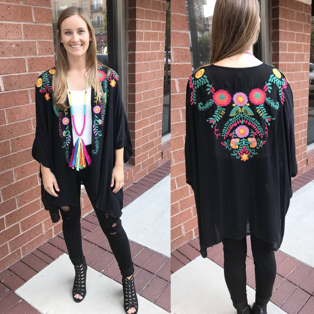 Floral Embroidery Kimono - Black