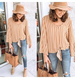 Peppermint Striped Tie Detail Top - Mustard