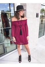 Off Shoulders Lace Dress - Wine