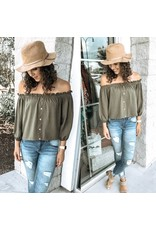 Off Shoulders Button Down Top - Olive