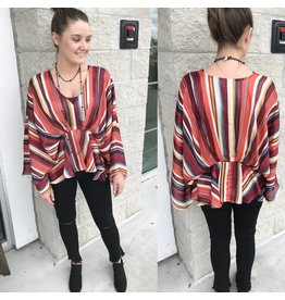 Striped Draped Top - Burgundy