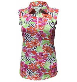 IBKul IBKul Print Sleeveless Polo