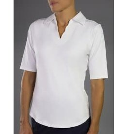 Jofit Jofit Scallop 1/2 Sleeve  Polo White, Size XL