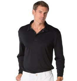 IBKul IBKul Solid Long Sleeve Polo Black