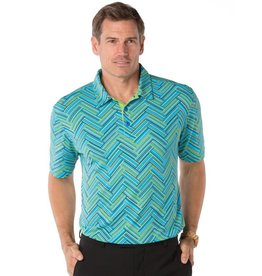 IBKul IBKul Printed Short Sleeve Polo Blue/Neon Green