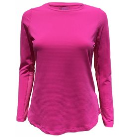 IBKul IBKul Solid Long Sleeve Crew Hot Pink