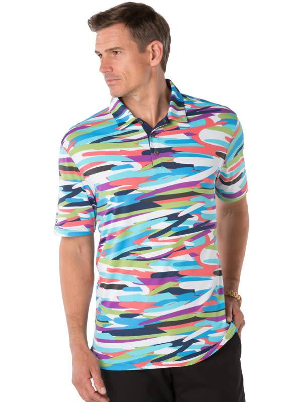 IBKul IBKul Printed Short Sleeve Polo Multi