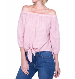 Liverpool Jeans Liverpool Jeans Off the Shoulder Shirt Dusty Red