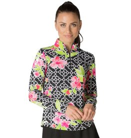 IBKul IBKul | Ashly Long Sleeve Mock Black/Pink