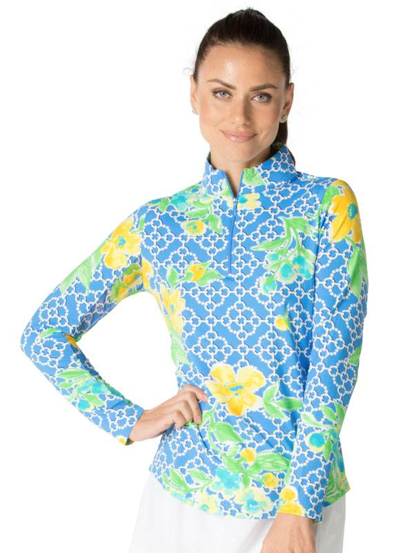 IBKul IBKul Ashly Long Sleeve Mock Peri/Yellow