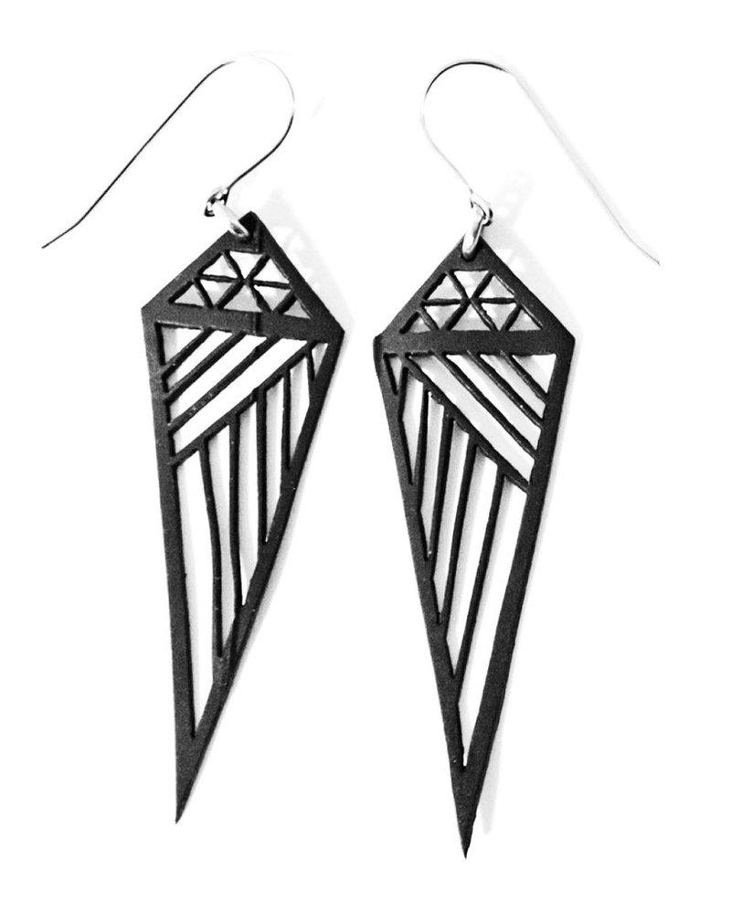 verdigris Small Geometric Rubber Earrings