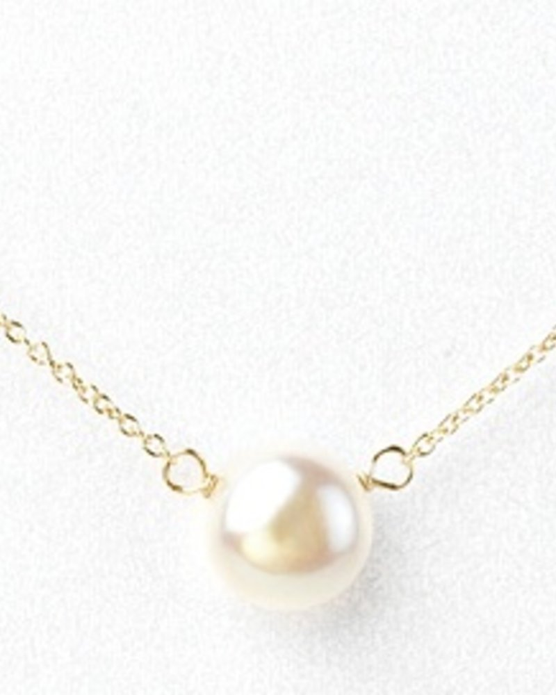 """Dogeared I LOVE MOM, large pearl, gold 18"""""""