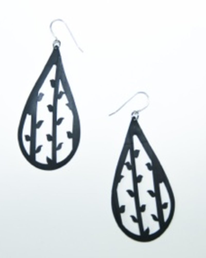 Tear Drop With Vine and Leaf Rubber Earrings