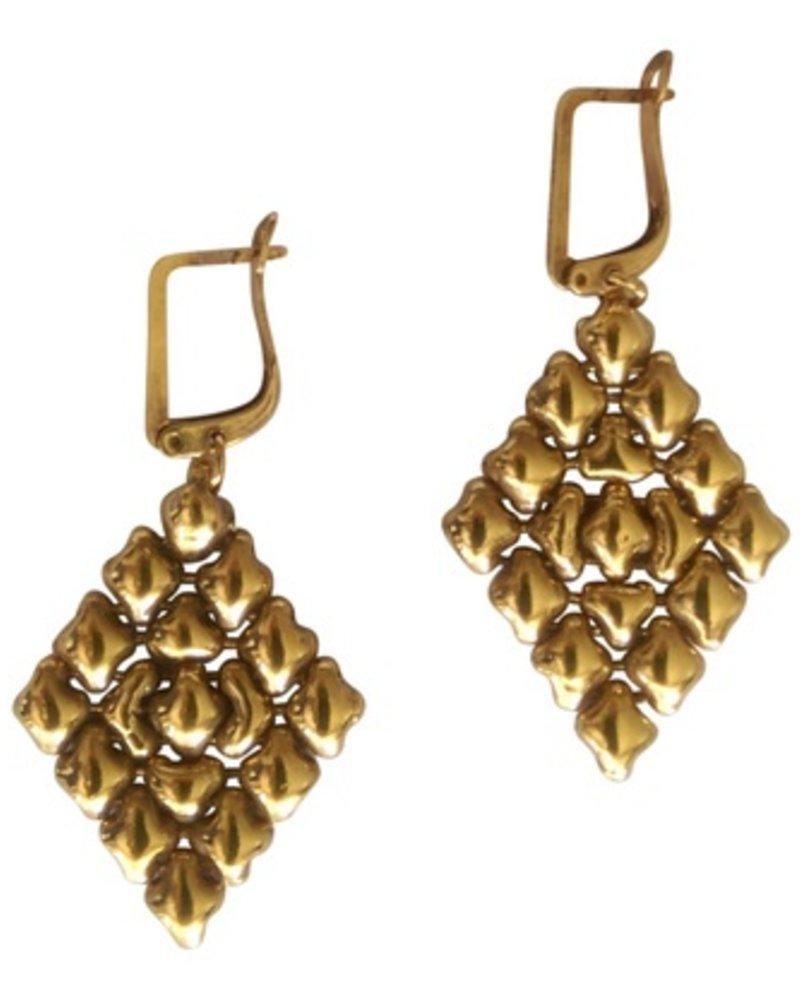 Liquid Metal Antique Gold 24K earrings
