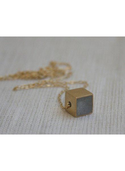 Large Cube Gold & Concrete Necklace