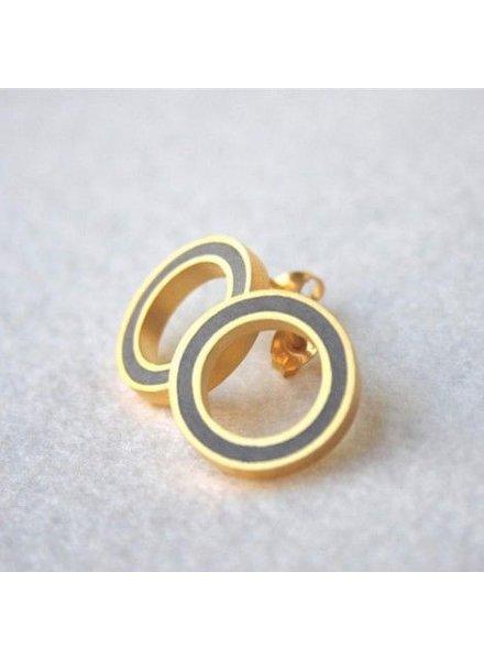 verdigris O round button - gold & concrete Earrings