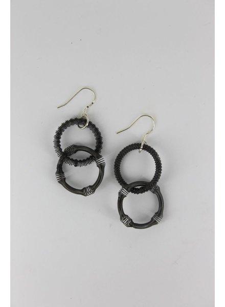 Small Slate Double Loop PianoWire Earring