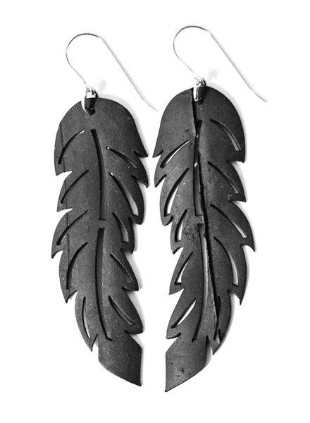 verdigris Medium Feather Rubber Earrings