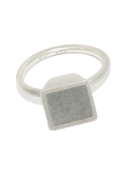 Square Step Dot RingSilver & ConcreteSize 8