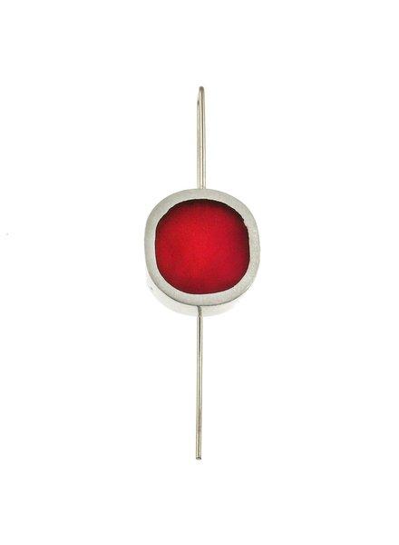 Metal oval resin Magenta earrings