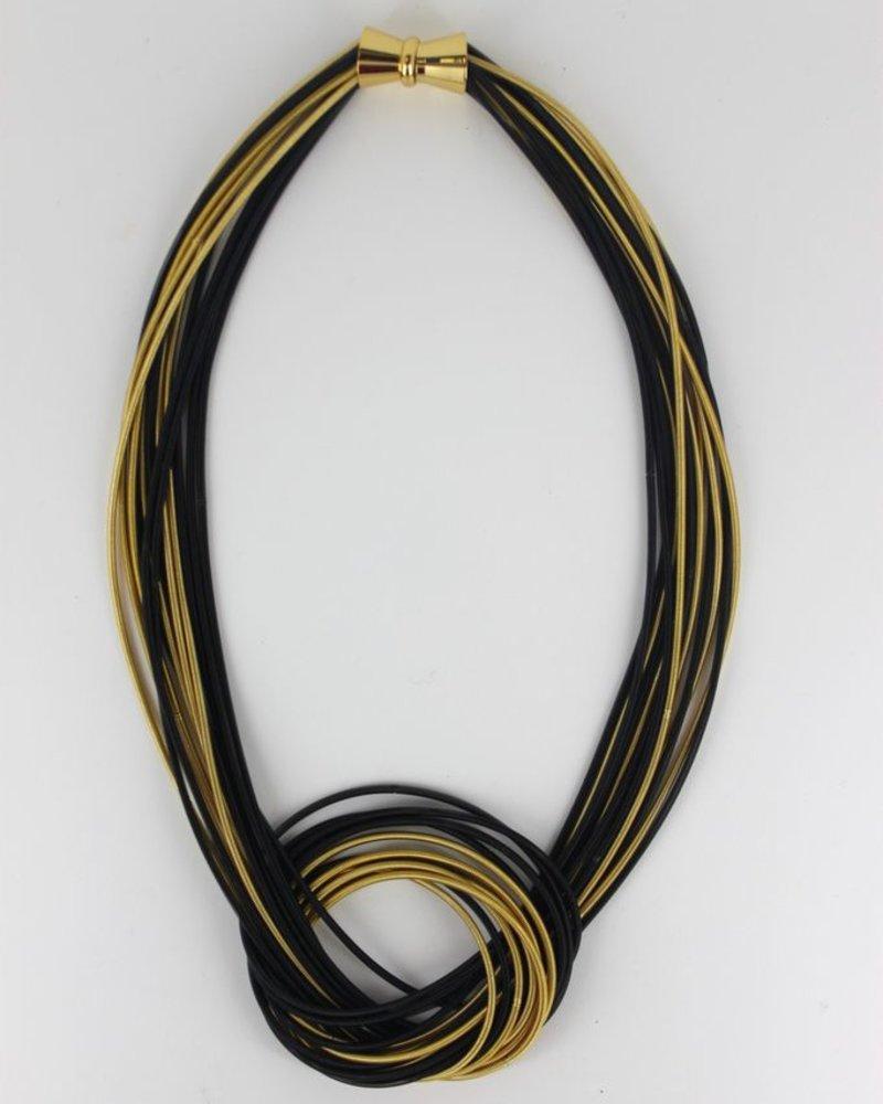 verdigris Black & Bronze Large Knot pianowire necklace