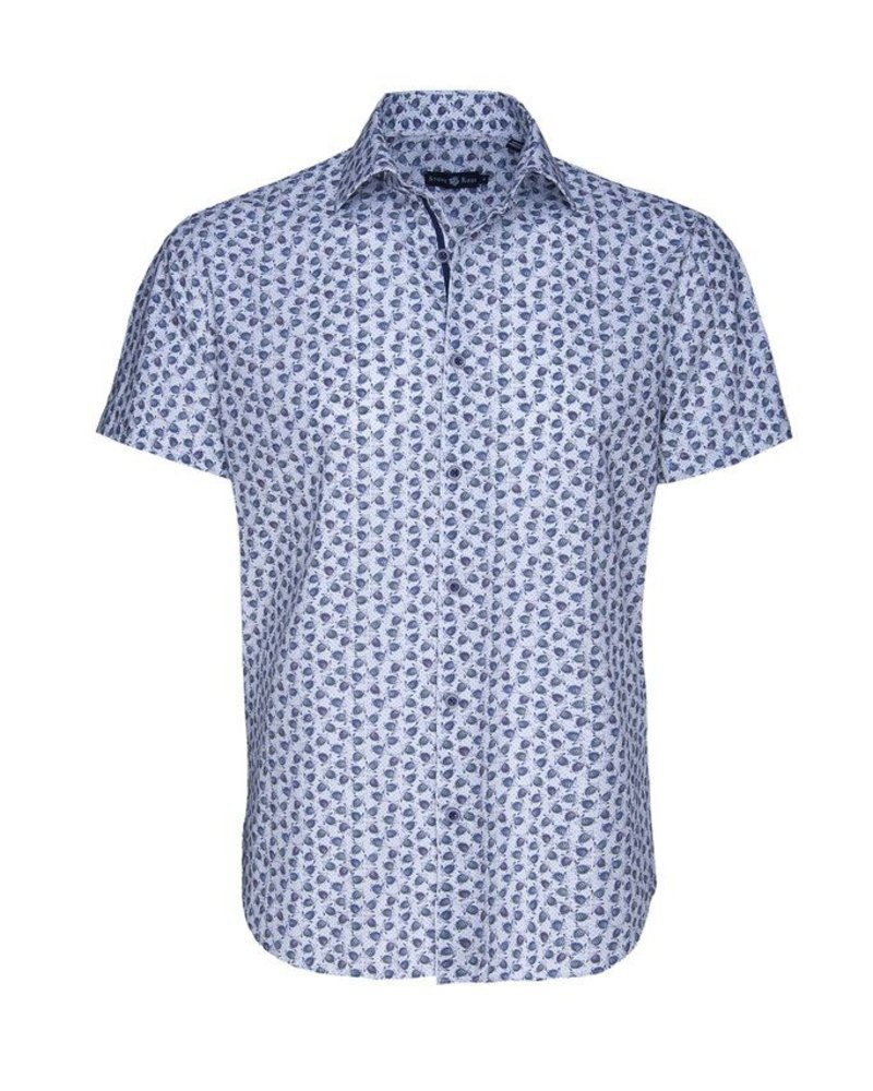 Stone Rose Men's Short Sleeve Blue Turtle Print Button Up Shirt
