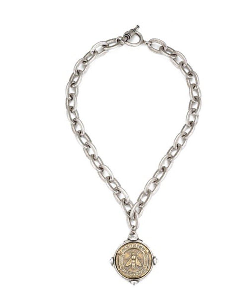 French Kande Lourdes chain with Abeille medallion