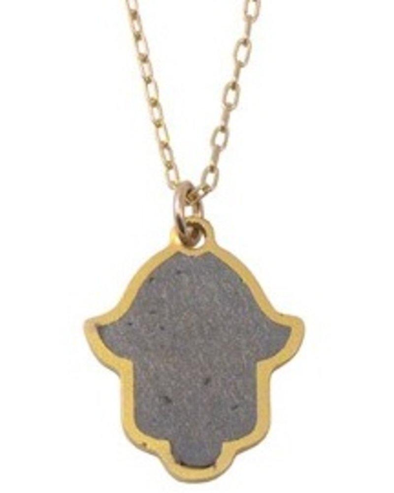 Hamsa Gold & Concrete Necklace