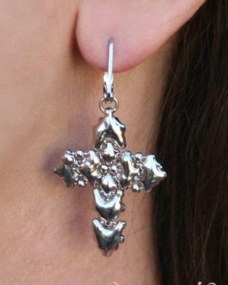 Liquid Metal Liquid metal cross earrings
