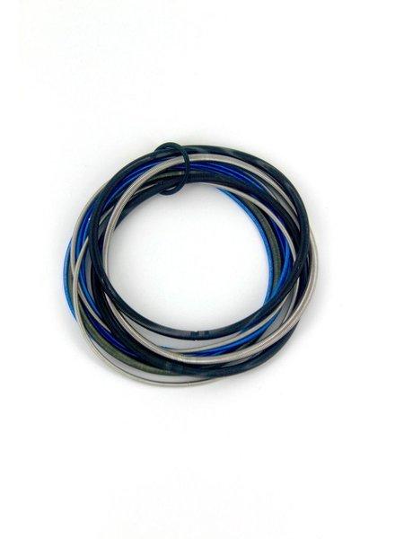 Black/Blue/Silver Multi Strand pianowire Bracelet